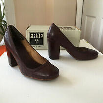 Frye Carson Pump Block Heel Womens 7 Shoe Plum Burgundy Gorgeous  Photo