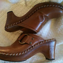 Frye Charlotte Ring Brown Leather Mules - Size 7-1/2 Medium Photo