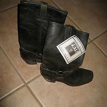 Frye Classic Black Leather Harness Motorcycle Ring Boots Size 6 M Photo