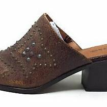 Frye & Co Womens Phoenix Studded Mule Shoes Distressed Leather Chocolate Size 8 Photo