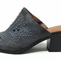 Frye & Co Womens Phoenix Studded Mule Shoes Distressed Leather Pewter Size 8 Photo
