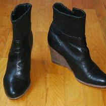 Frye Corby Side Zip Black Leather Wedge Ankle Boots / Women's Size 9 Photo