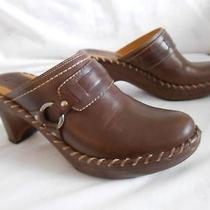 Frye Dark Brown Leather Whip Stitch Slides  3.5