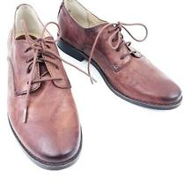 Frye Elyssa Oxford 78259 Womens Brown Leather Lace Up Flats Oxfords Shoes Photo