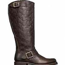 Frye for Coach Veronica Tall Boots Stonewash Dark Brown Vintage Leather 6.5 New Photo