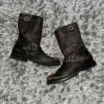 Frye Harness Distressed Brown Leather Boots Womens Size 9 Photo