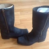 Frye Heath Side Zip Boots Black Leather Womens 7.5 Photo