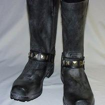 Frye Heath Studded Harness Bike Bootvintage Tumbled Leather Upperblack10 New Photo