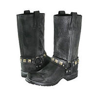 Frye Heath Studded Harness Motorcycle Bike Rocker Boots Shoes Black Mens 7.5 New Photo