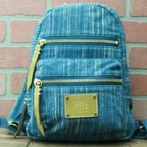 Frye Ivy Denim With Light Brown Leather Trim Mini Backpack Photo