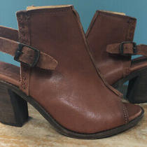 Frye Izzy Artisan Sz 8 Sling Back Heel Open Toe Bootie Heel Cognac Brown Leather Photo