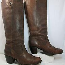 Frye Jackie Button Leather Pull on Tall Western Riding Boots Brown Sz 7b Euc Photo