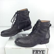 Frye Jake Lace Up Black Pressed Nubuck Leather Boot Black Men's Size 12 D Photo
