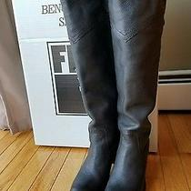 Frye Jane Tall Cuff Pull on Leather Riding Over the Knee Black Boots-Size 5.5 Photo