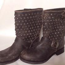 Frye Jenna Disc Short Boot Black Stone Wash Leather Studs 9b Retails for 357 Photo