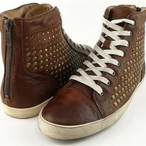 Frye Kira Studded Cog Cognac Leather Low Womens Designer High Top Sneakers 8.5 Photo