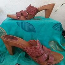 Frye Leather and Wood Slides/ Sandals Photo
