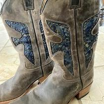 Frye Leather Inlay Studded Cowboy Western Boots Womens Size 8 M Photo
