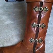 Frye Leather Knee Boots - Cognac - Anthropologie- 7.5  Photo