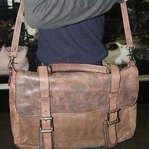 Frye Leather Laptop Computer Messenger Briefcase Camel Brown Bag Distressed Photo