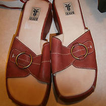 Frye Leather Sandals Wedge Heel 9m Rust Red Wine  Photo