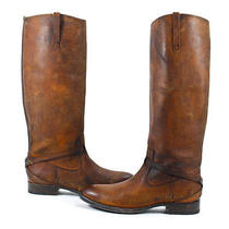 Frye Lindsay Plate Leather Riding Boots Cognac Shoes 7 New Photo
