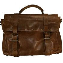 Frye Logan Flap Briefcase Cognac Leather - Authentic Photo