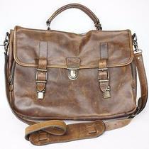 Frye Logan Leather Buckle Briefcase Cognac Cognac Brown 528 Photo