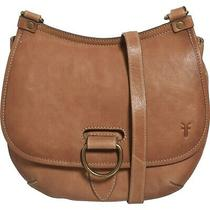 Frye Lucy Brown Tan Leather Crossbody Satchel Purse Brass Ring Flap M New Photo