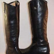 Frye Melissa Button Black Leather Riding Boots Size 7.5 358 Photo