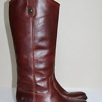 Frye Melissa Button Cognac Brown Leather Riding Tall Boots Flat Shoes Sz 7.5 Photo