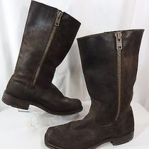Frye Men's Heath Outside Zip Boot Brown Distressed Leather Suede Loose  Photo