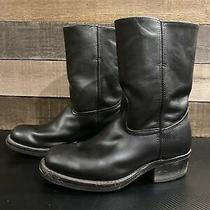 Frye Mid Calf Boots Black Leather Casual Pull on Comfort Womens Sz 8.5 M Photo