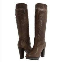 Frye Mimi Scrunch Mid Calf Platform Block Heel Boots Brown Size 8 M Photo
