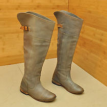 Frye Paige Tall Women Us 7 Gray Leather Knee High Boots Photo