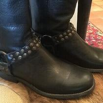 Frye Phillip Studded Harness Black Leather Womens Boots 7.5m Photo