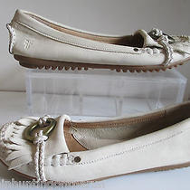Frye Reba O Ring Off White Leather Loafer Kiltie Mocassin Slip on Shoes Sz 7m Photo