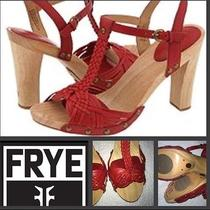 Frye Red Leather /wood Heels 8.5 Fit 8 Frye Sandal Photo
