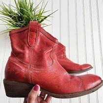 Frye Red Orange Leather Short Billy Boots Womens Size 8.5 Photo