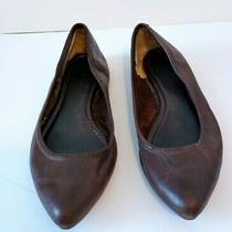 Frye Regina Women's Pointed Toe Flats Sz 9.5 Dark Brown Leather Whipstitch Heel Photo