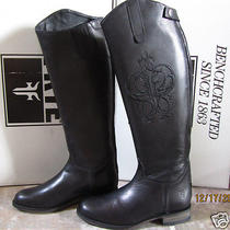 Frye Riding Back Zip Embroidered Logo Black Leather Boots 598 Nib Size 8 Photo