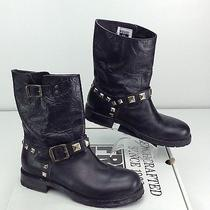 Frye Rogan Studded Engineer Boot Black Leather 8.5 B Mototcycle Biker Stud Photo