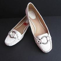 Frye Ruby Ring Womens Size 8.5 Shoes Loafer Slip on Flats All Leather Bone  Photo