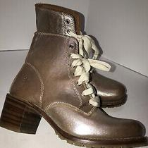 Frye Sabrina 6g Laceup Silver Blush Metallic Boot 9m Photo