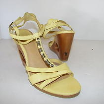 Frye Shoes 9.5 Yellow Leather Sandals Wedge Annabelle Photo