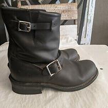 Frye Short Boots Sz 7 Black Leather Vicky Double Buckle Engineer Moto Side Zip Photo