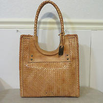 Frye Shoulder Magazine Tote Bag Natural Tan Woven Leather Computer Purse Euc Photo