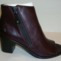 Frye Size 8 Brielle Zip Peep Bootie Wine Leather Heeled Boots New Womens Shoes Photo