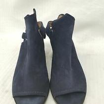 Frye Size 8m Womens Dani Shield Navy Peep Toe Mules Photo