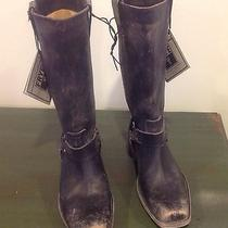 Frye Smith Harness Tall Boot Black Distressed Leather 9 New Photo